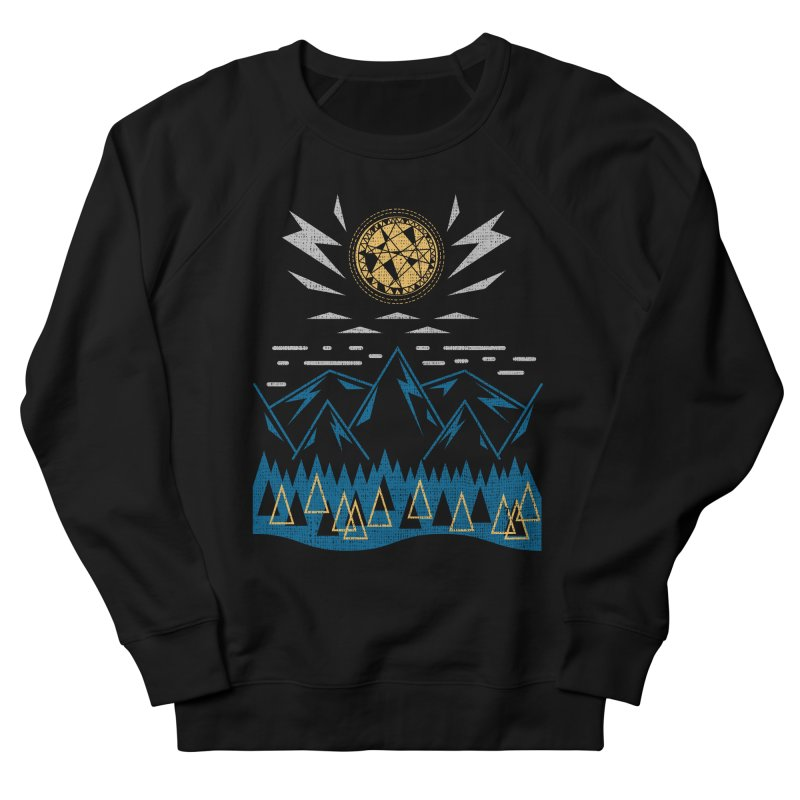 Sun Strike Over the Mountains Men's French Terry Sweatshirt by Elcorette