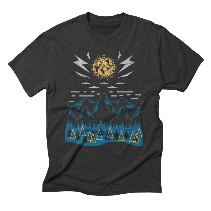 Sun Strike Over the Mountains Men's Triblend T-Shirt by Elcorette