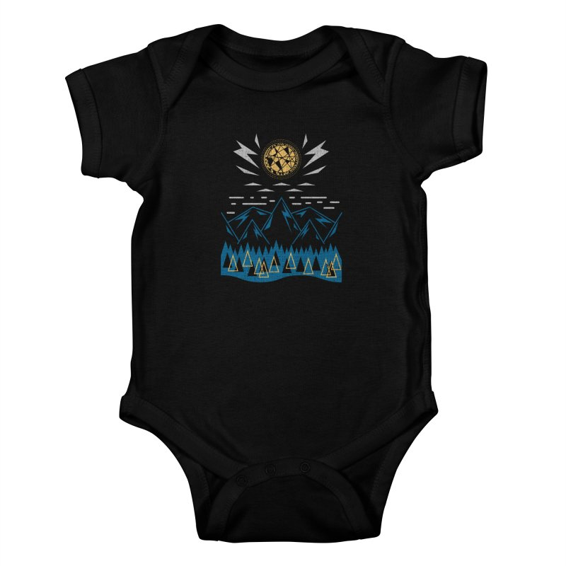 Sun Strike Over the Mountains Kids Baby Bodysuit by Elcorette