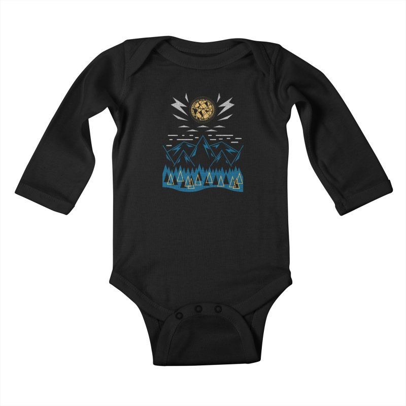 Sun Strike Over the Mountains Kids Baby Longsleeve Bodysuit by Elcorette
