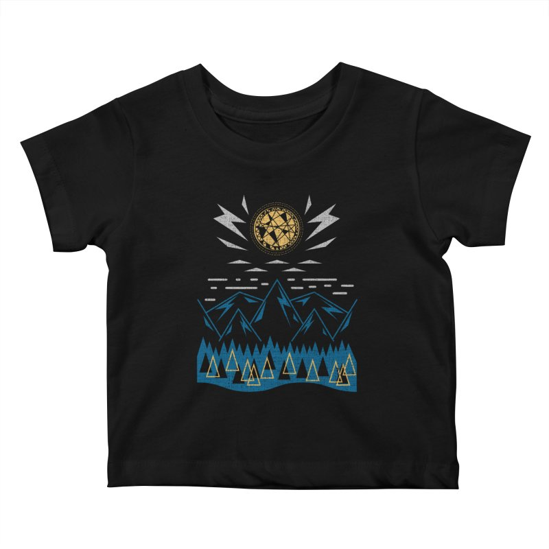 Sun Strike Over the Mountains Kids Baby T-Shirt by Elcorette