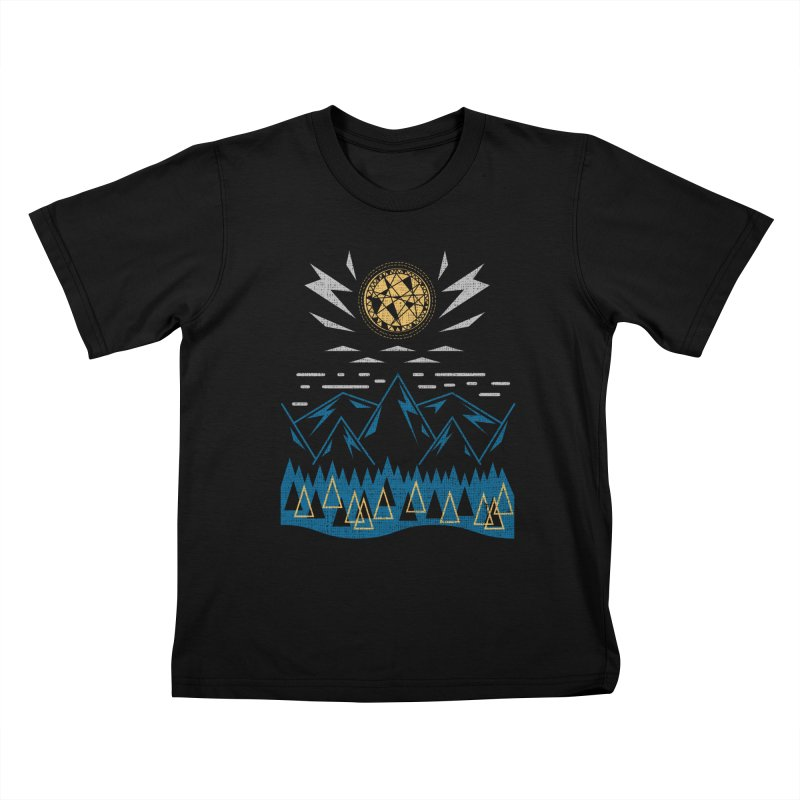 Sun Strike Over the Mountains Kids T-shirt by Elcorette