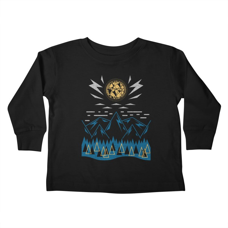 Sun Strike Over the Mountains Kids Toddler Longsleeve T-Shirt by Elcorette