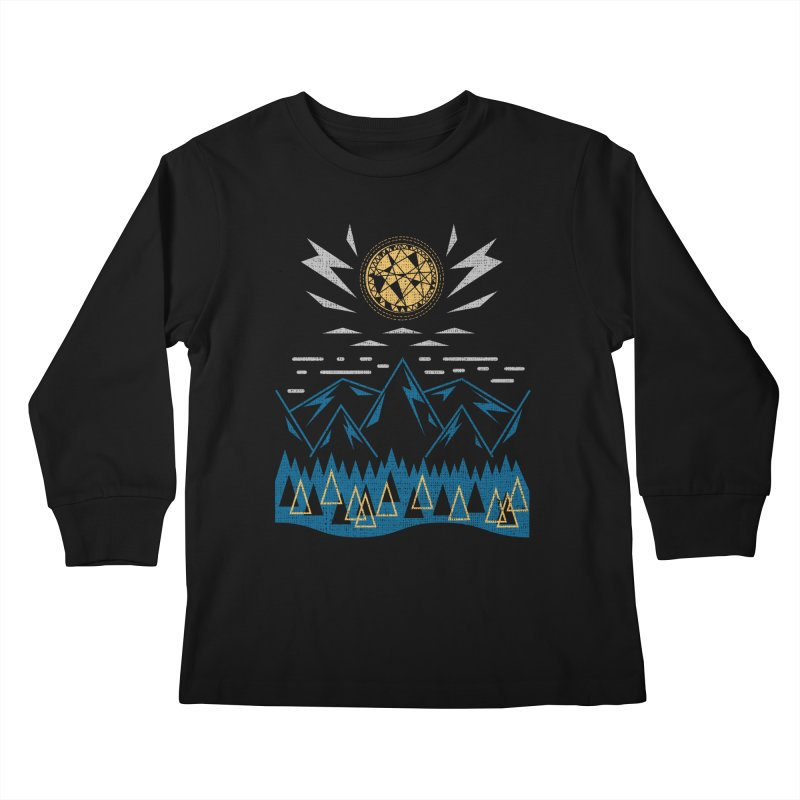 Sun Strike Over the Mountains Kids Longsleeve T-Shirt by Elcorette