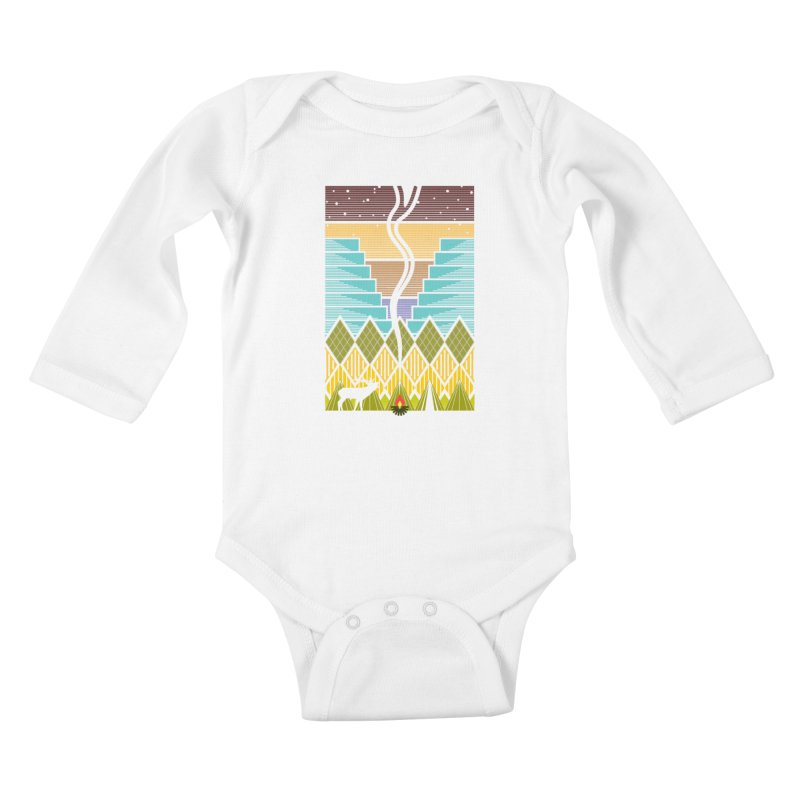 Night Camping Kids Baby Longsleeve Bodysuit by Elcorette