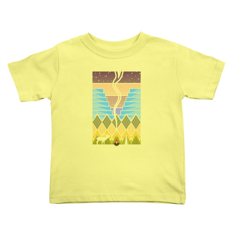 Night Camping Kids Toddler T-Shirt by Elcorette