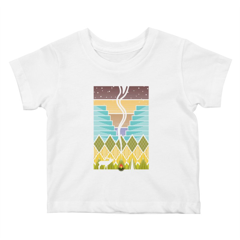 Night Camping Kids Baby T-Shirt by Elcorette
