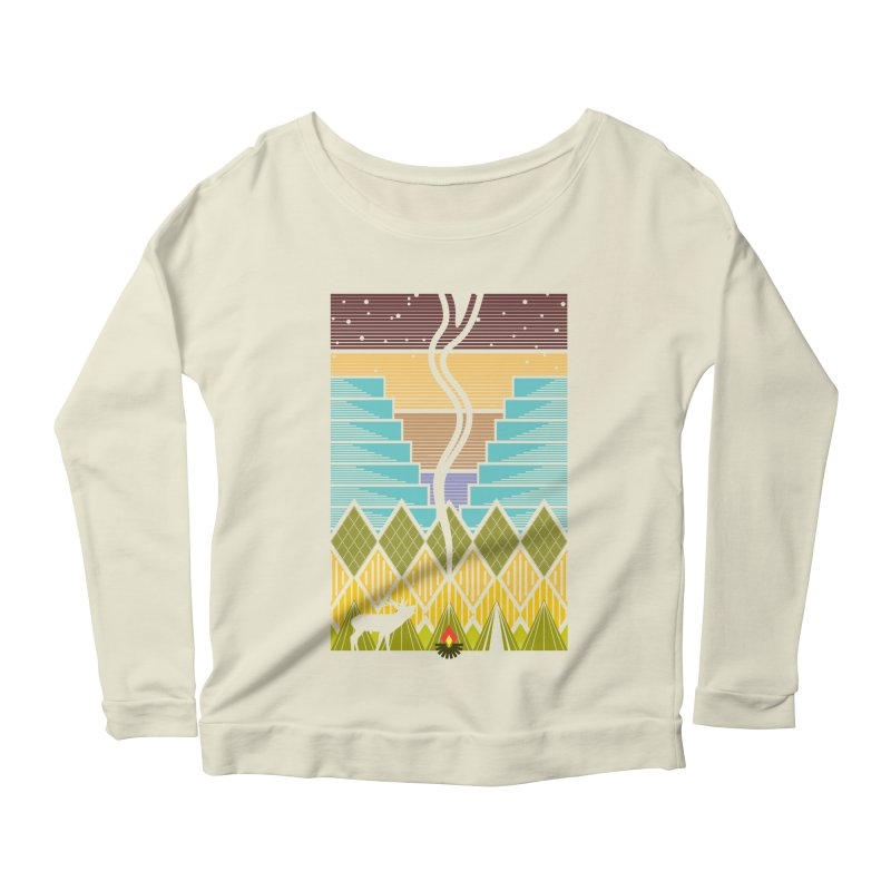 Night Camping Women's Scoop Neck Longsleeve T-Shirt by Elcorette