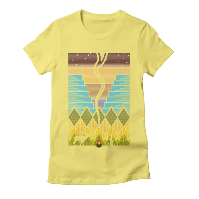 Night Camping Women's Fitted T-Shirt by Elcorette