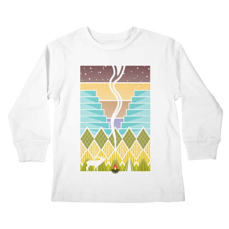 Night Camping Kids Longsleeve T-Shirt by Elcorette