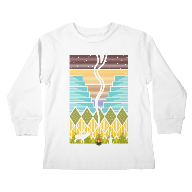 Night Camping Kids Longsleeve T-Shirt by Elcorette