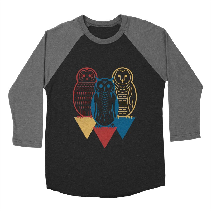 Three Owls at Night Men's Baseball Triblend T-Shirt by Elcorette