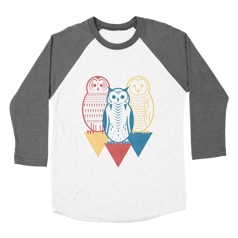 Three Owls at Night Men's Baseball Triblend Longsleeve T-Shirt by Elcorette