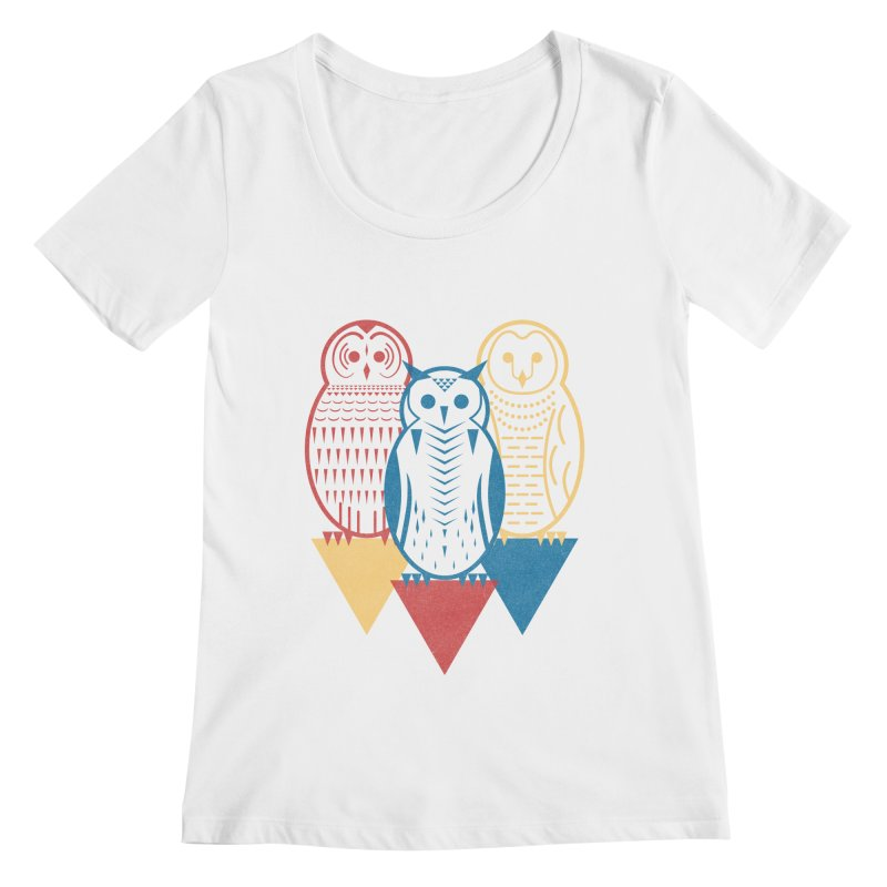 Three Owls at Night Women's Scoopneck by Elcorette