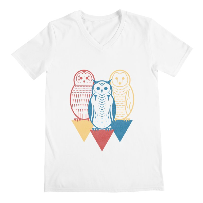 Three Owls at Night Men's Regular V-Neck by Elcorette