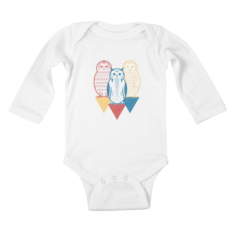 Three Owls at Night Kids Baby Longsleeve Bodysuit by Elcorette