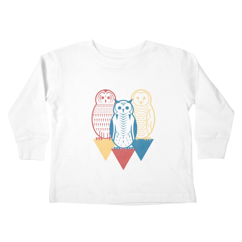 Three Owls at Night Kids Toddler Longsleeve T-Shirt by Elcorette