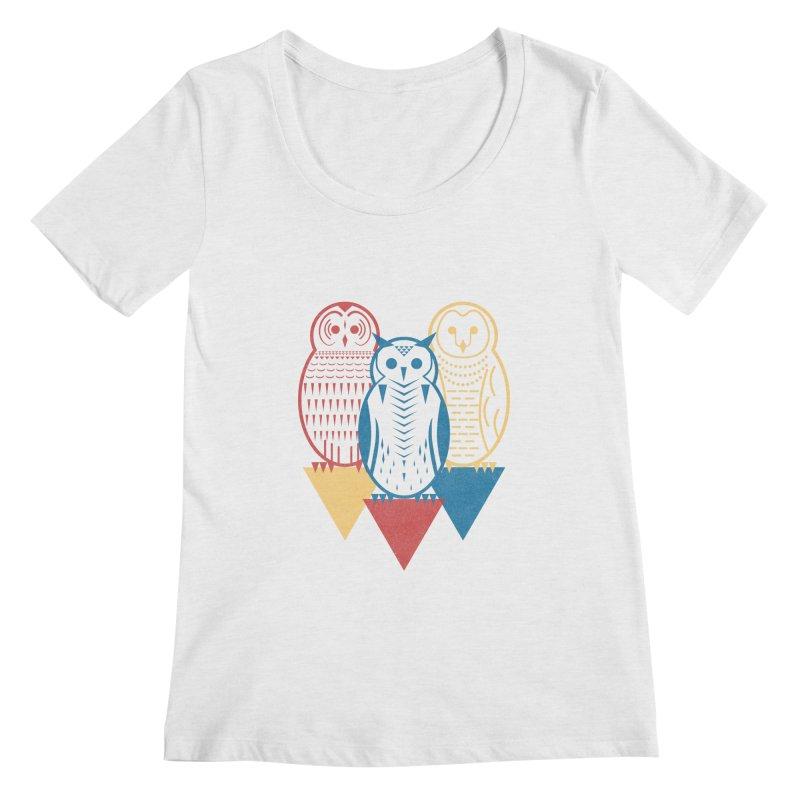 Three Owls at Night Women's Regular Scoop Neck by Elcorette