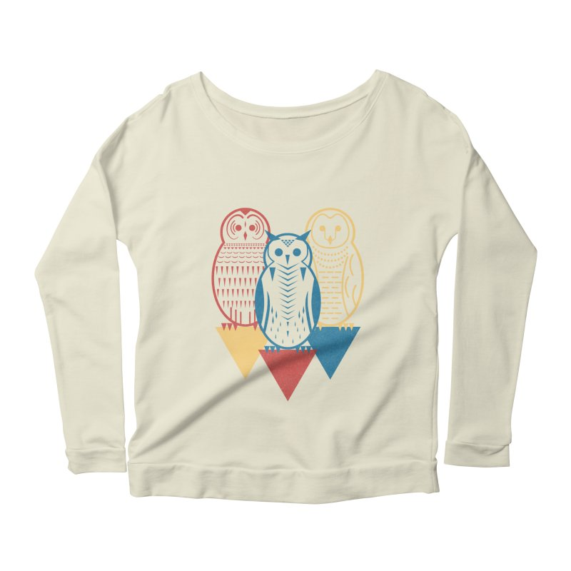 Three Owls at Night Women's Longsleeve Scoopneck  by Elcorette