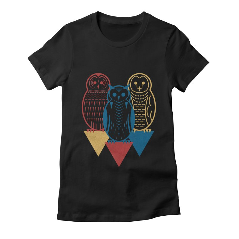 Three Owls at Night Women's Fitted T-Shirt by Elcorette