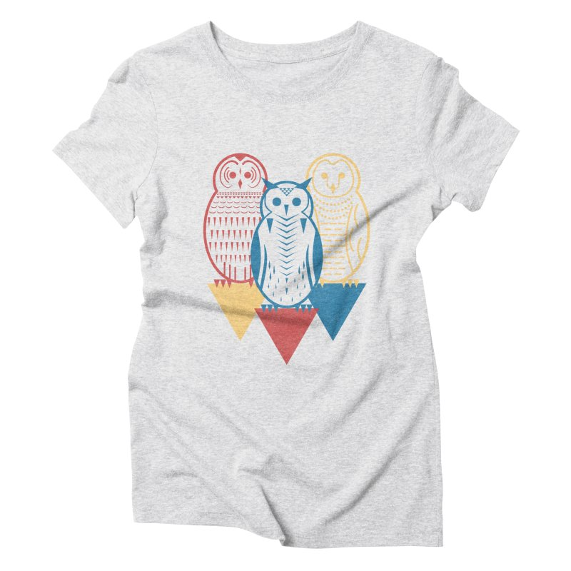 Three Owls at Night Women's Triblend T-Shirt by Elcorette