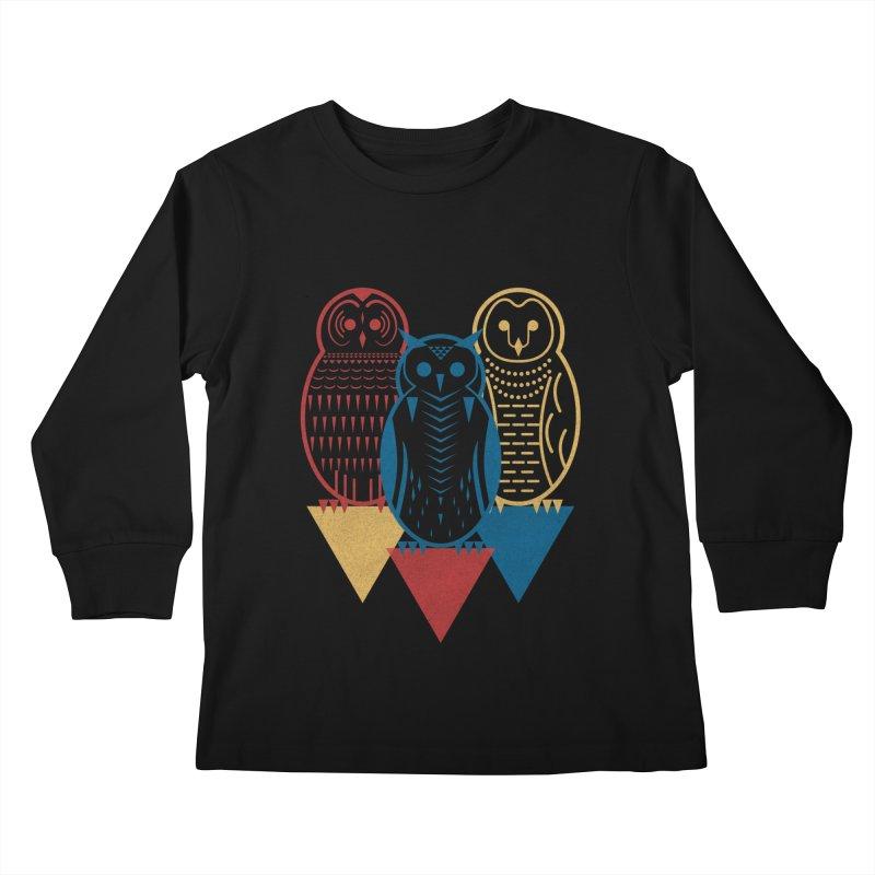 Three Owls at Night Kids Longsleeve T-Shirt by Elcorette