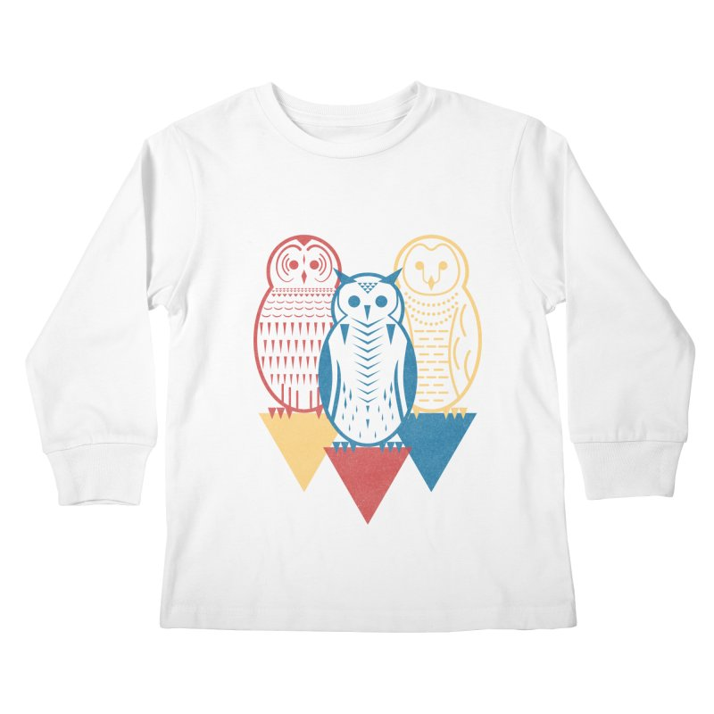Three Owls at Night Kids Longsleeve T-Shirt by Elcorette
