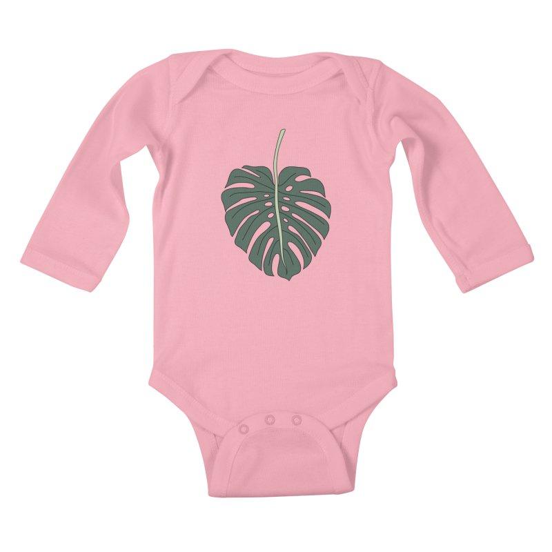 Monstera leaf by Elebea Kids Baby Longsleeve Bodysuit by elebea