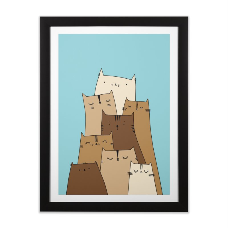 Cat mountain by Elebea in Framed Fine Art Print Black by elebea