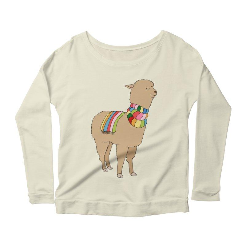 Rainbow llama by Elebea Women's Longsleeve Scoopneck  by elebea
