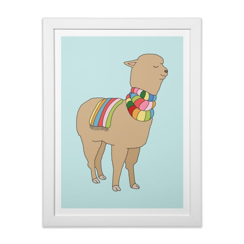 Rainbow llama by Elebea in Framed Fine Art Print White by elebea