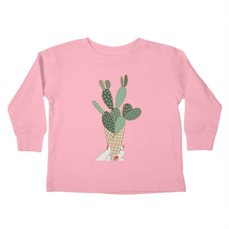Cactus ice cream cone Kids Toddler Longsleeve T-Shirt by elebea