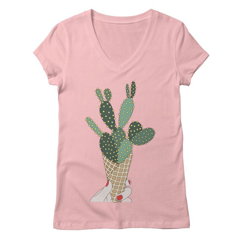 Cactus ice cream cone Women's V-Neck by elebea
