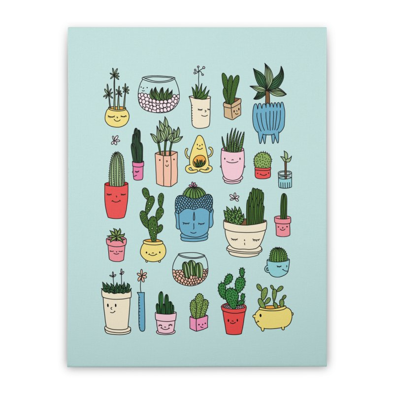 Cactus paradise by Elebea Home Stretched Canvas by elebea