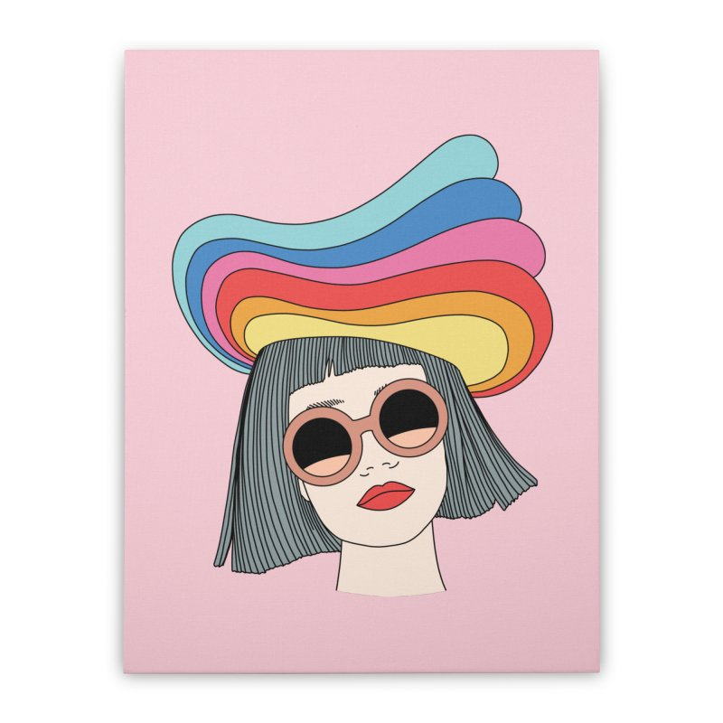 Rainbow hat by Elebea Home Stretched Canvas by elebea