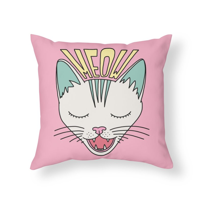 Meow by Elebea Home Throw Pillow by elebea