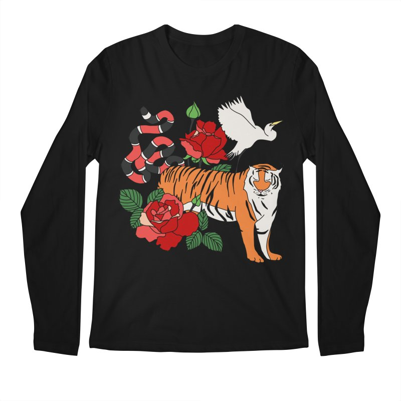 Roses and animals by Elebea Men's Longsleeve T-Shirt by elebea