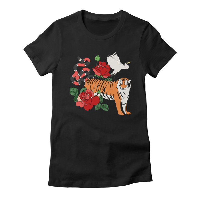 Roses and animals by Elebea Women's Fitted T-Shirt by elebea