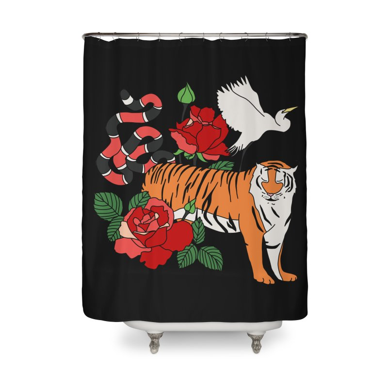 Roses and animals by Elebea Home Shower Curtain by elebea