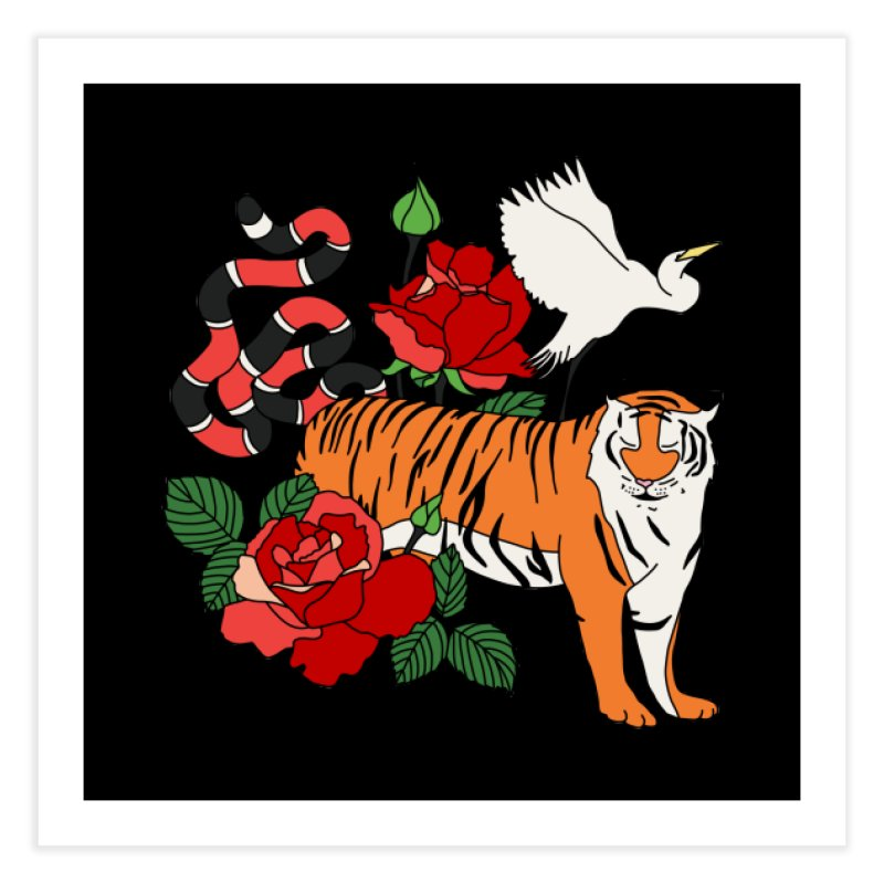 Roses and animals by Elebea Home Fine Art Print by elebea