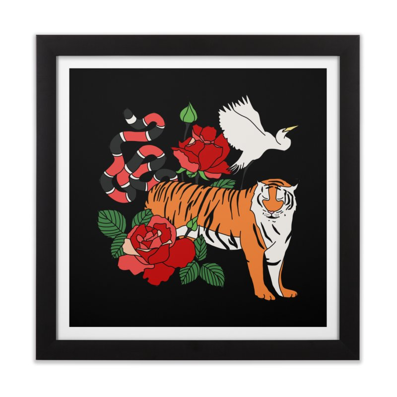 Roses and animals by Elebea Home Framed Fine Art Print by elebea