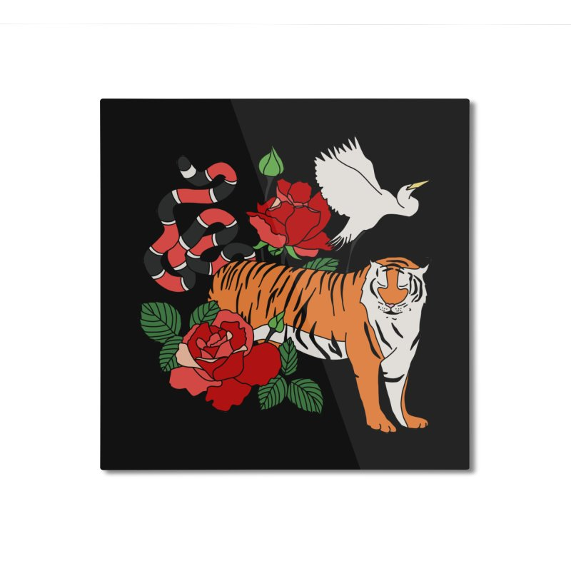 Roses and animals by Elebea Home Mounted Aluminum Print by elebea