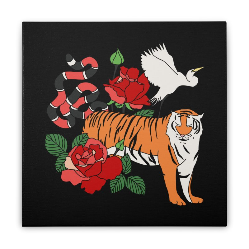 Roses and animals by Elebea Home Stretched Canvas by elebea