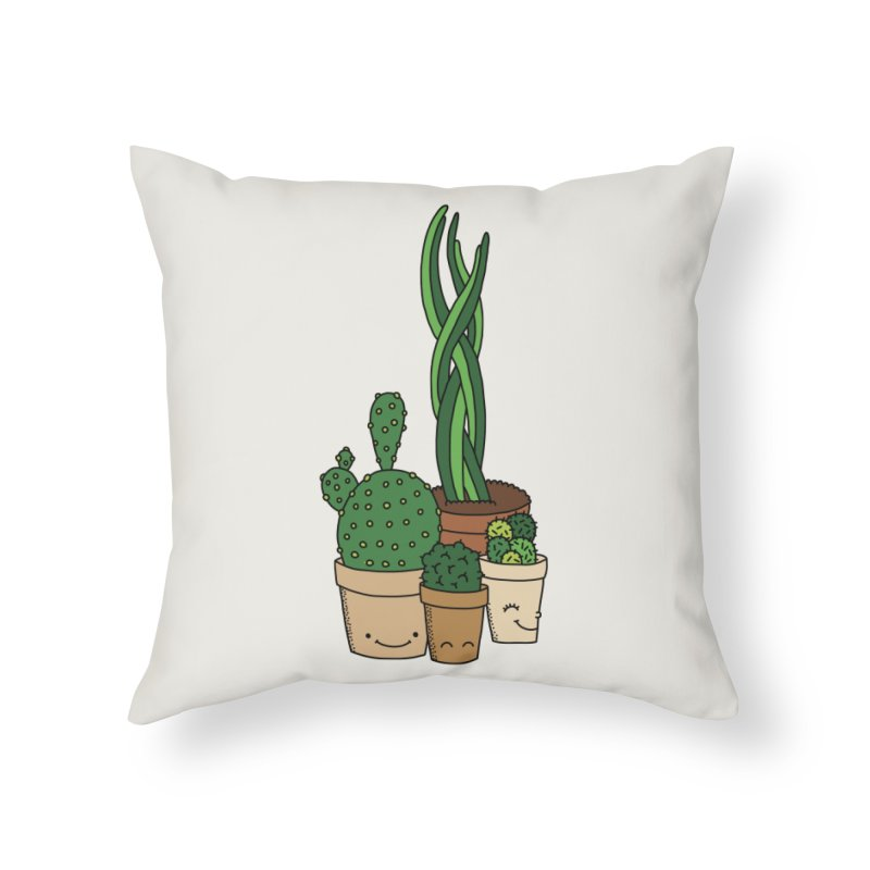 Happy cactus by Elebea Home Throw Pillow by elebea