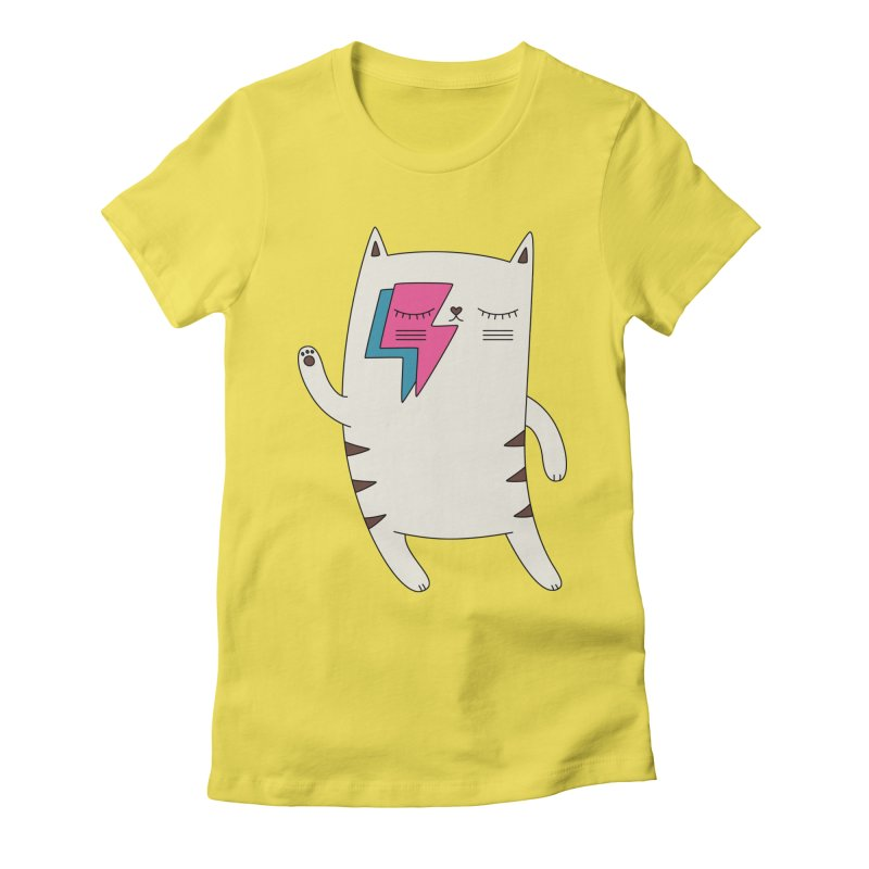Bowie cat by Elebea in Women's Fitted T-Shirt Vibrant Yellow by elebea