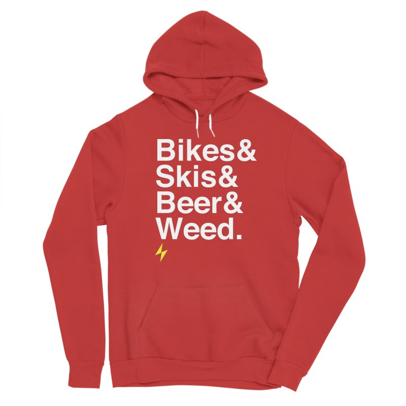 Bikes&Skis&Beer&Weed. Women's Pullover Hoody by Electric Graphic Design