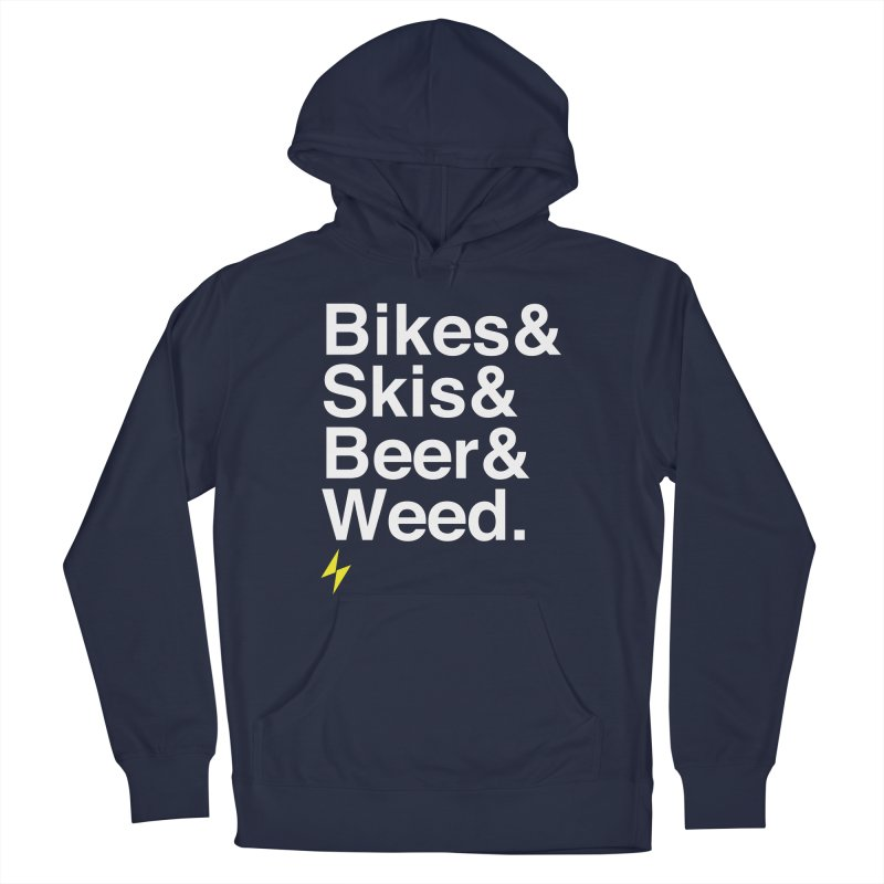 Bikes&Skis&Beer&Weed. Men's Pullover Hoody by Electric Graphic Design
