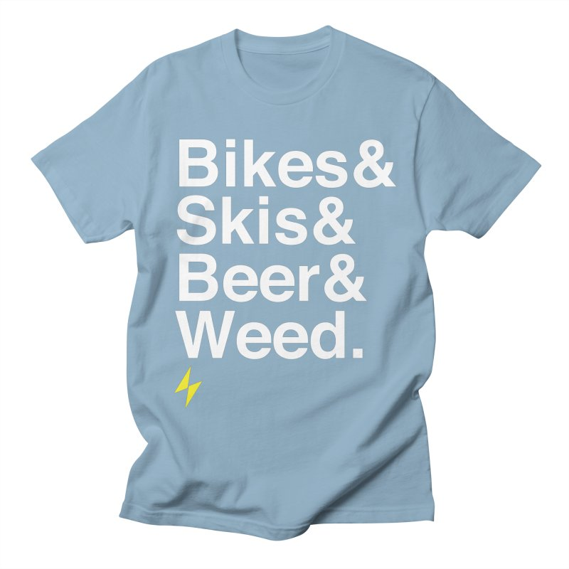 Bikes&Skis&Beer&Weed. Men's T-Shirt by Electric Graphic Design