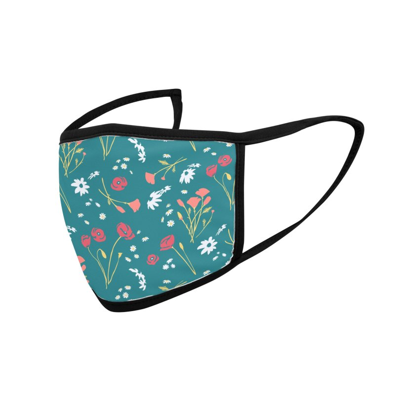 Floral Mask - Sea Green Accessories Face Mask by Electric Graphic Design