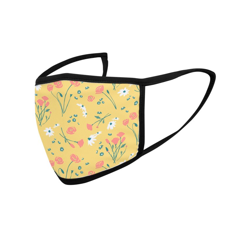 Floral Mask - Mustard Accessories Face Mask by Electric Graphic Design